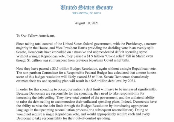 彻底撒手不管 共和党46名参议员发公开信拒绝参与调整债务上限